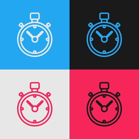 Color line Stopwatch icon isolated on color background. Time timer sign. Chronometer sign. Vintage style drawing. Vector Illustration Banque d'images - 130583386