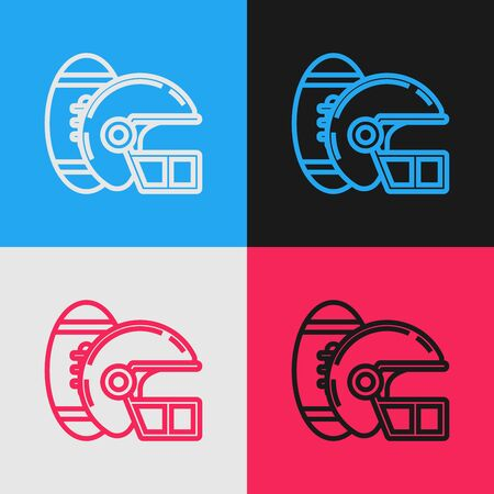 Color line American Football ball and helmet icon isolated on color background. Set of sport equipment. Vintage style drawing. Vector Illustration Çizim