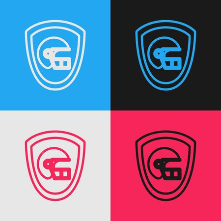 Color line American football helmet and shield icon isolated on color background. Vintage style drawing. Vector Illustration Banque d'images - 130583416