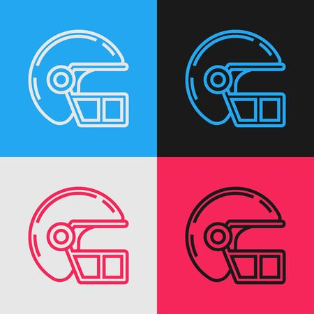 Color line American football helmet icon isolated on color background. Vintage style drawing. Vector Illustration Banque d'images - 130583418