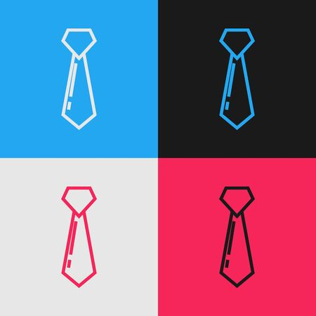 Color line Tie icon isolated on color background. Necktie and neckcloth symbol. Vintage style drawing. Vector Illustration