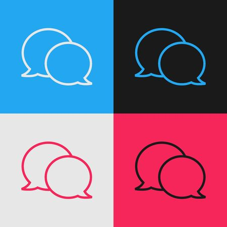 Color line Speech bubble chat icon isolated on color background. Message icon. Communication or comment chat symbol. Vintage style drawing. Vector Illustration