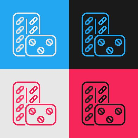 Color line Pills in blister pack icon isolated on color background. Medical drug package for tablet vitamin, antibiotic, aspirin. Vintage style drawing. Vector Illustration Stok Fotoğraf - 130583535