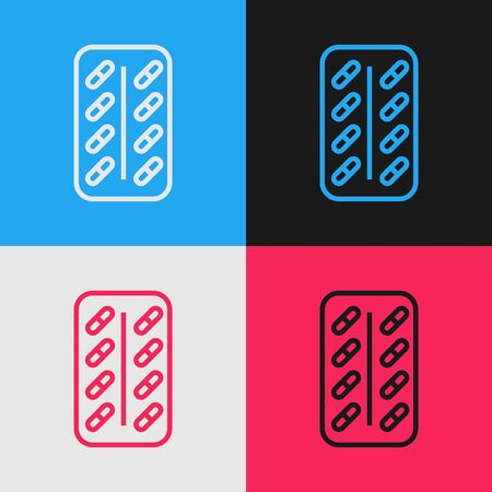 Color line Pills in blister pack icon isolated on color background. Medical drug package for tablet vitamin, antibiotic, aspirin. Vintage style drawing. Vector Illustration Stok Fotoğraf - 130583551