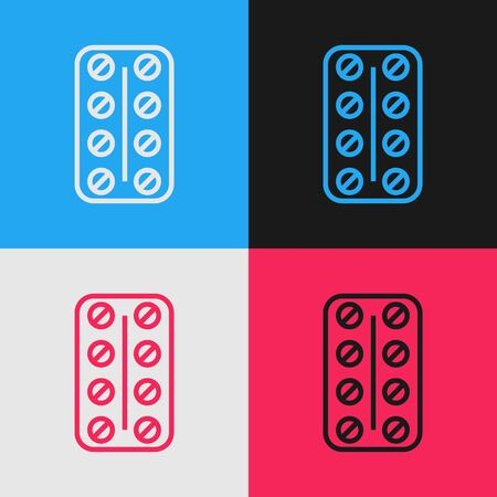 Color line Pills in blister pack icon isolated on color background. Medical drug package for tablet vitamin, antibiotic, aspirin. Vintage style drawing. Vector Illustration Stok Fotoğraf - 130583561