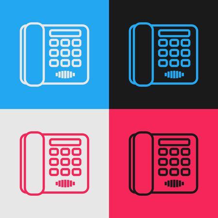 Color line Telephone icon isolated on color background. Landline phone. Vintage style drawing. Vector Illustration Ilustração