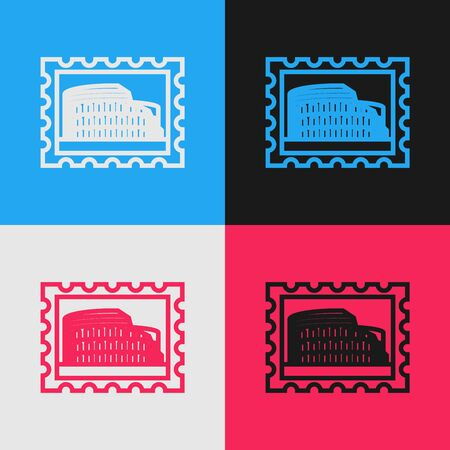 Color line Postal stamp and Coliseum icon isolated on color background. Colosseum sign. Symbol of Ancient Rome, gladiator fights. Vintage style drawing. Vector Illustration