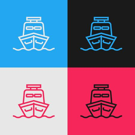 Color line Ship icon isolated on color background. Vintage style drawing. Vector Illustration