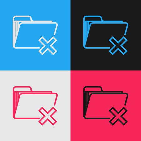 Color line Delete folder icon isolated on color background. Folder with recycle bin. Delete or error folder. Close computer information folder. Vintage style drawing. Vector Illustration