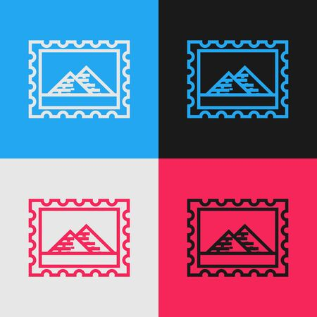 Color line Postal stamp and Egypt pyramids icon isolated on color background. Vintage style drawing. Vector Illustration