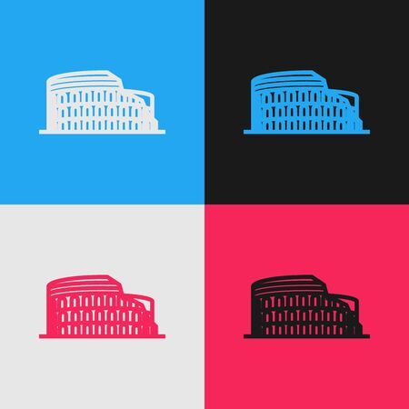 Color line Coliseum in Rome, Italy icon isolated on color background. Colosseum sign. Symbol of Ancient Rome, gladiator fights. Vintage style drawing. Vector Illustration Çizim