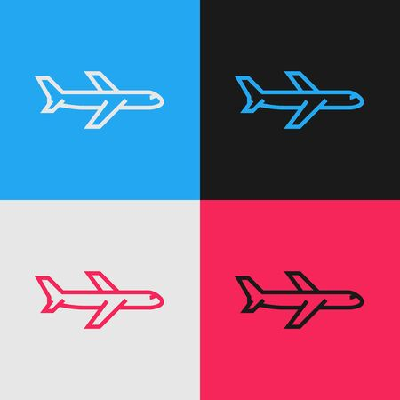 Color line Plane icon isolated on color background. Flying airplane icon. Airliner sign. Vintage style drawing. Vector Illustration