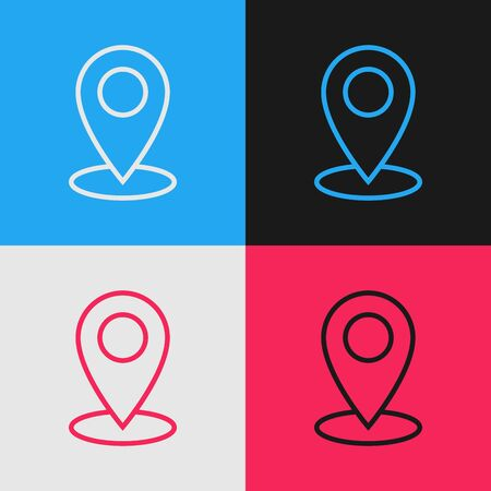 Color line Map pin icon isolated on color background. Navigation, pointer, location, map, gps, direction, place, compass, contact, search concept. Vintage style drawing. Vector Illustration  イラスト・ベクター素材