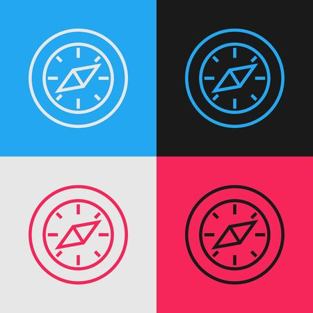 Color line Compass icon isolated on color background. Windrose navigation symbol. Wind rose sign. Vintage style drawing. Vector Illustration