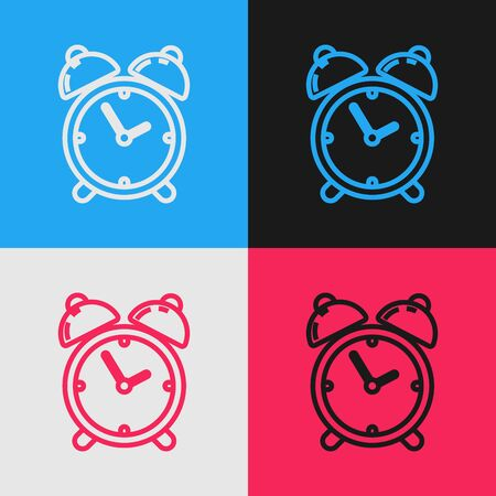 Color line Alarm clock icon isolated on color background. Wake up, get up concept. Time sign. Vintage style drawing. Vector Illustration