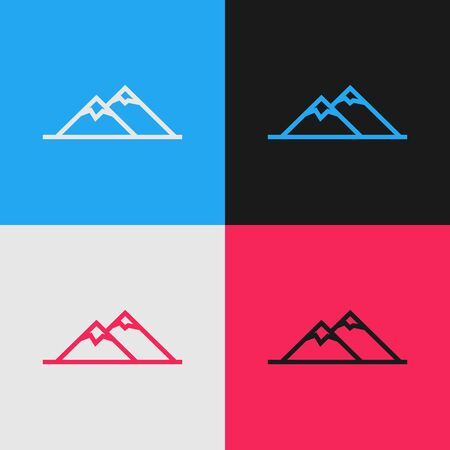 Color line Mountains icon isolated on color background. Symbol of victory or success concept. Vintage style drawing. Vector Illustration