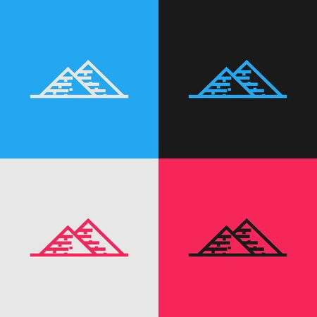 Color line Egypt pyramids icon isolated on color background. Symbol of ancient Egypt. Vintage style drawing. Vector Illustration