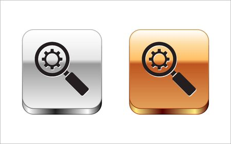 Black Magnifying glass and gear icon isolated on white background. Search gear tool. Business analysis symbol. Silver-gold square button. Vector Illustration