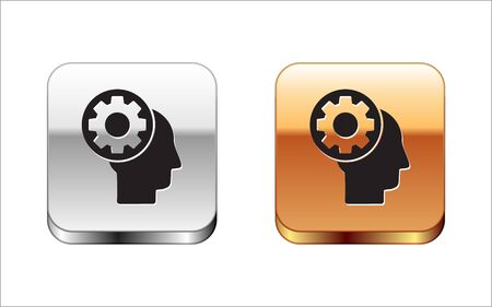 Black Human head with gear inside icon isolated on white background. Artificial intelligence. Thinking brain sign. Symbol work of brain. Silver-gold square button. Vector Illustration Illustration