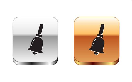 Black Ringing bell icon isolated on white background. Alarm symbol, service bell, handbell sign, notification symbol. Silver-gold square button. Vector Illustration