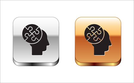 Black Human head puzzles strategy icon isolated on white background. Thinking brain sign. Symbol work of brain. Silver-gold square button. Vector Illustration