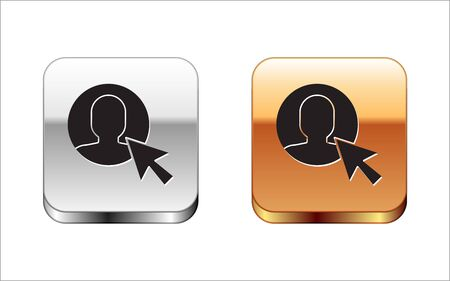 Black User of man in business suit icon isolated on white background. Business avatar symbol - user profile icon. Male user sign. Silver-gold square button. Vector Illustration