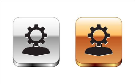 Black Human with gear inside icon isolated on white background. Artificial intelligence. Thinking brain sign. Symbol work of brain. Silver-gold square button. Vector Illustration Illustration