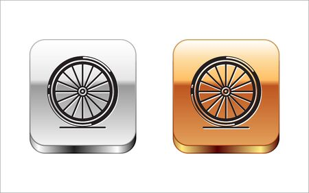 Black Bicycle wheel icon isolated on white background. Bike race. Extreme sport. Sport equipment. Silver-gold square button. Vector Illustration