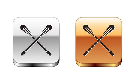 Black Crossed paddle icon isolated on white background. Paddle boat oars. Silver-gold square button. Vector Illustration