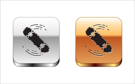 Black Skateboard trick icon isolated on white background. Extreme sport. Sport equipment. Silver-gold square button. Vector Illustration Ilustrace