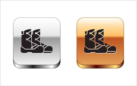 Black Boots icon isolated on white background. Silver-gold square button. Vector Illustration Иллюстрация