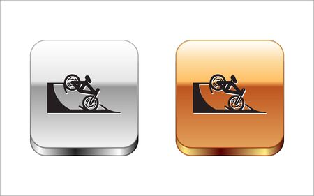 Black Bicycle on street ramp icon isolated on white background. Skate park. Extreme sport. Sport equipment. Silver-gold square button. Vector Illustration