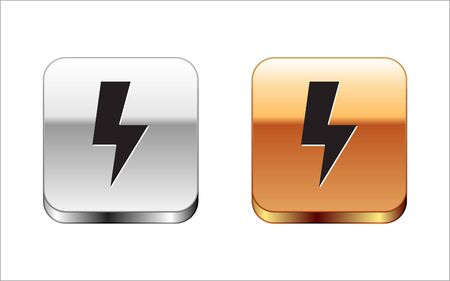 Black Lightning bolt icon isolated on white background. Flash sign. Charge flash icon. Thunder bolt. Lighting strike. Silver-gold square button. Vector Illustration