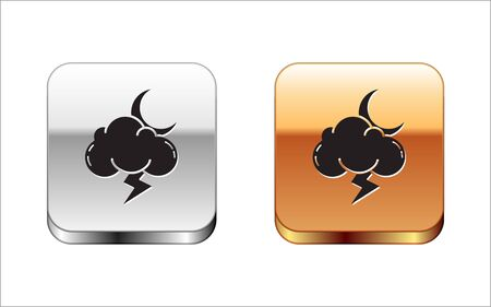 Black Storm icon isolated on white background. Cloud with lightning and moon sign. Weather icon of storm. Silver-gold square button. Vector Illustration