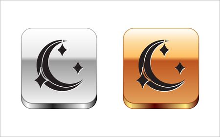 Black Moon and stars icon isolated on white background. Silver-gold square button. Vector Illustration