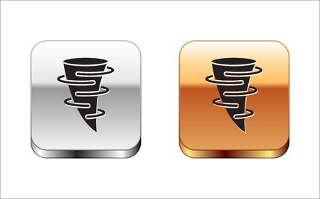 Black Tornado icon isolated on white background. Silver-gold square button. Vector Illustration