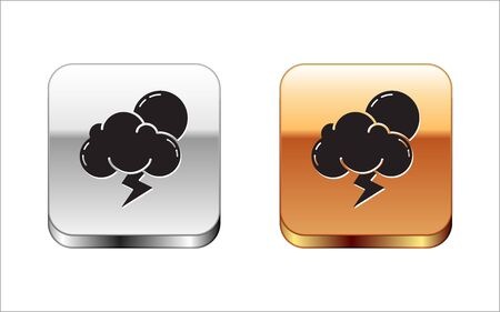Black Storm icon isolated on white background. Cloud with lightning and sun sign. Weather icon of storm. Silver-gold square button. Vector Illustration