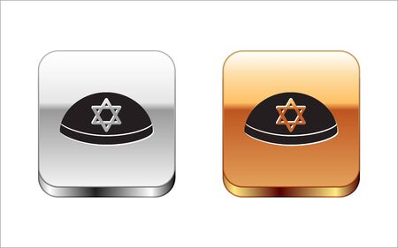 Black Jewish kippah with star of david icon isolated on white background. Jewish yarmulke hat. Silver-gold square button. Vector Illustration