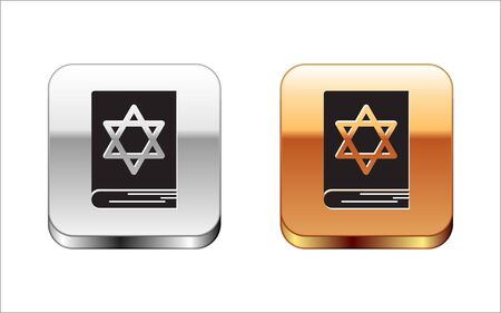 Black Jewish torah book icon isolated on white background. Pentateuch of Moses. On the cover of the Bible is the image of the Star of David. Silver-gold square button. Vector Illustration