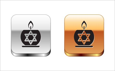 Black Burning candle in candlestick with star of david icon isolated on white background. Cylindrical candle stick with burning flame. Silver-gold square button. Vector Illustration
