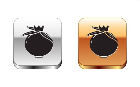 Black Pomegranate icon isolated on white background. Garnet fruit. Silver-gold square button. Vector Illustration Çizim