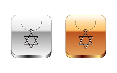 Black Star of David necklace on chain icon isolated on white background. Jewish religion symbol. Symbol of Israel. Jewellery and accessory. Silver-gold square button. Vector Illustration