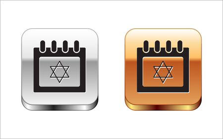 Black Jewish calendar with star of david icon isolated on white background. Hanukkah calendar day. Silver-gold square button. Vector Illustration 向量圖像