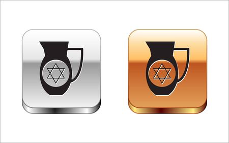 Black Decanter with star of david icon isolated on white background. Pottery jug. Organic product in carafe. Silver-gold square button. Vector Illustration