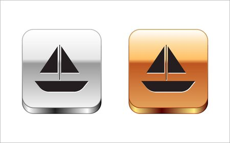 Black Yacht sailboat or sailing ship icon isolated on white background. Sail boat marine cruise travel. Silver-gold square button. Vector Illustration