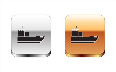 Black Cargo ship icon isolated on white background. Silver-gold square button. Vector Illustration