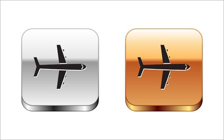 Black Plane icon isolated on white background. Flying airplane icon. Airliner sign. Silver-gold square button. Vector Illustration