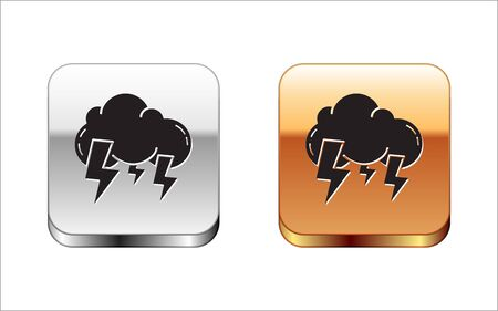 Black Storm icon isolated on white background. Cloud and lightning sign. Weather icon of storm. Silver-gold square button. Vector Illustration Illustration