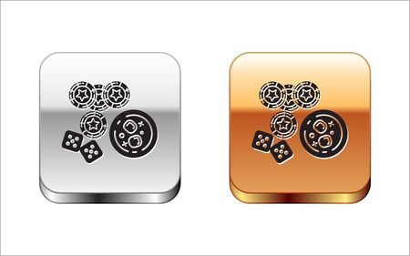 Black Casino chips, game dice and glass of whiskey with ice cubes icon isolated on white background. Casino poker. Silver-gold square button. Vector Illustration  イラスト・ベクター素材