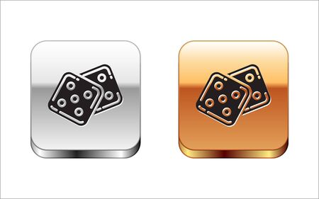 Black Game dice icon isolated on white background. Casino gambling. Silver-gold square button. Vector Illustration